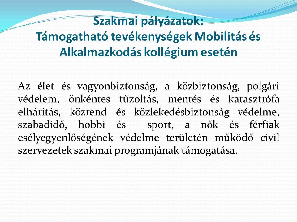 Szakmai pályázatok: Támogatható tevékenységek Mobilitás és Alkalmazkodás kollégium esetén