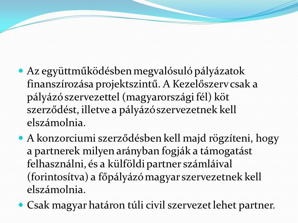 Az együttműködésben megvalósuló pályázatok finanszírozása projektszintű. A Kezelőszerv csak a pályázó szervezettel (magyarországi fél) köt szerződést, illetve a pályázó szervezetnek kell elszámolnia.