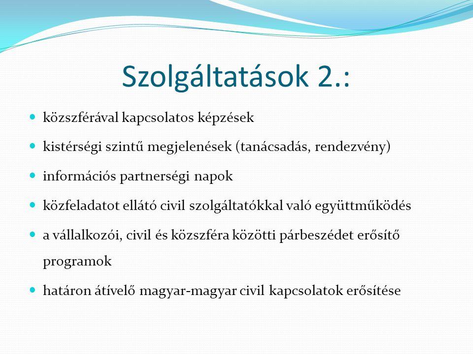 Szolgáltatások 2.: közszférával kapcsolatos képzések