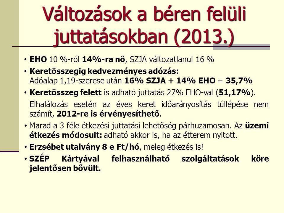 Változások a béren felüli juttatásokban (2013.)