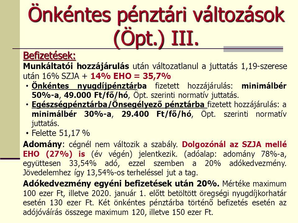 Önkéntes pénztári változások (Öpt.) III.