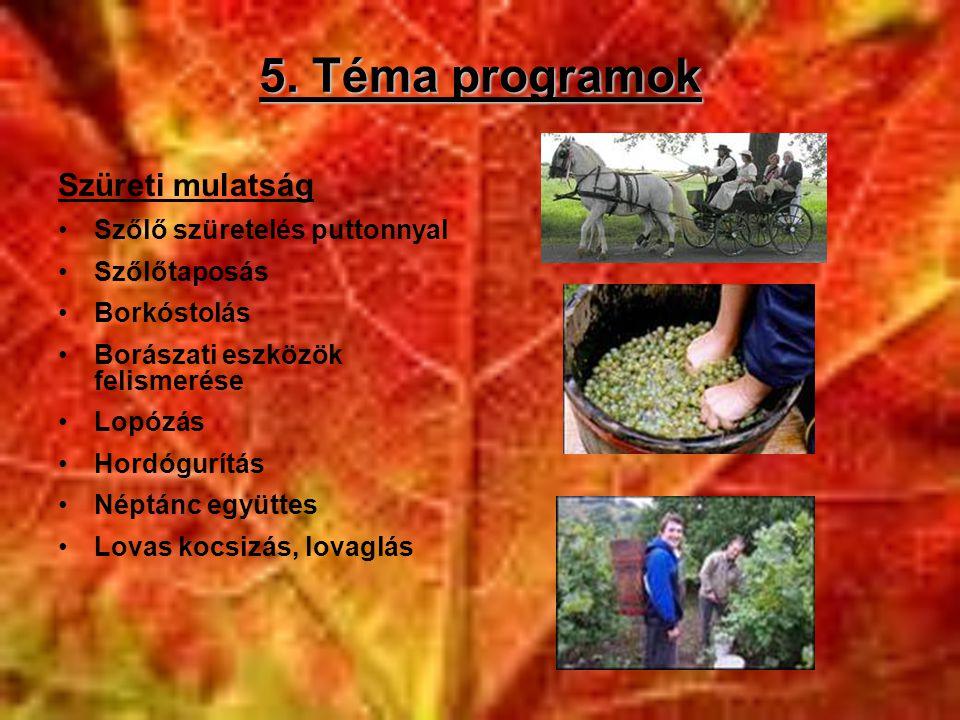 5. Téma programok Szüreti mulatság Szőlő szüretelés puttonnyal
