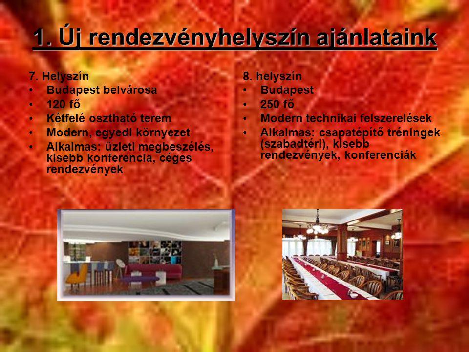 1. Új rendezvényhelyszín ajánlataink