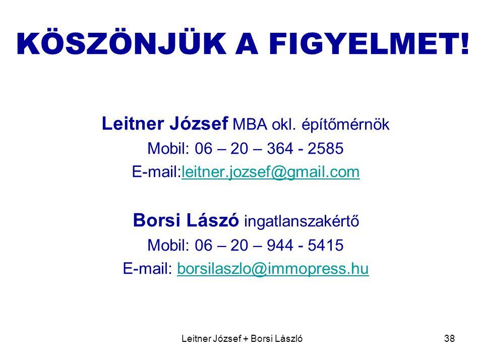 KÖSZÖNJÜK A FIGYELMET! Leitner József MBA okl. építőmérnök