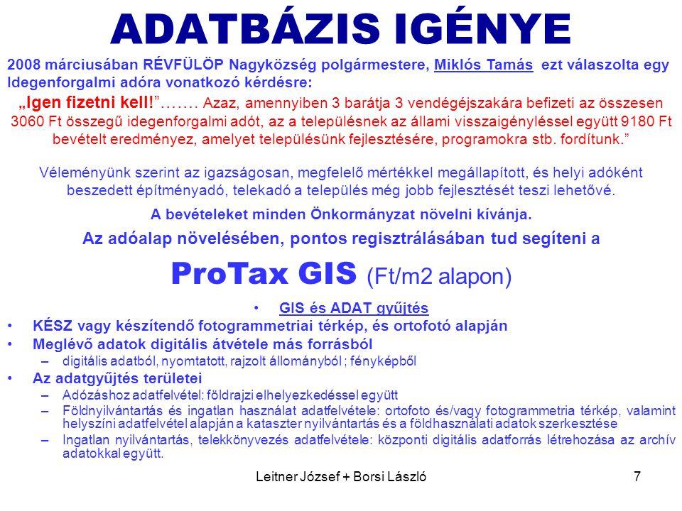 ADATBÁZIS IGÉNYE ProTax GIS (Ft/m2 alapon)