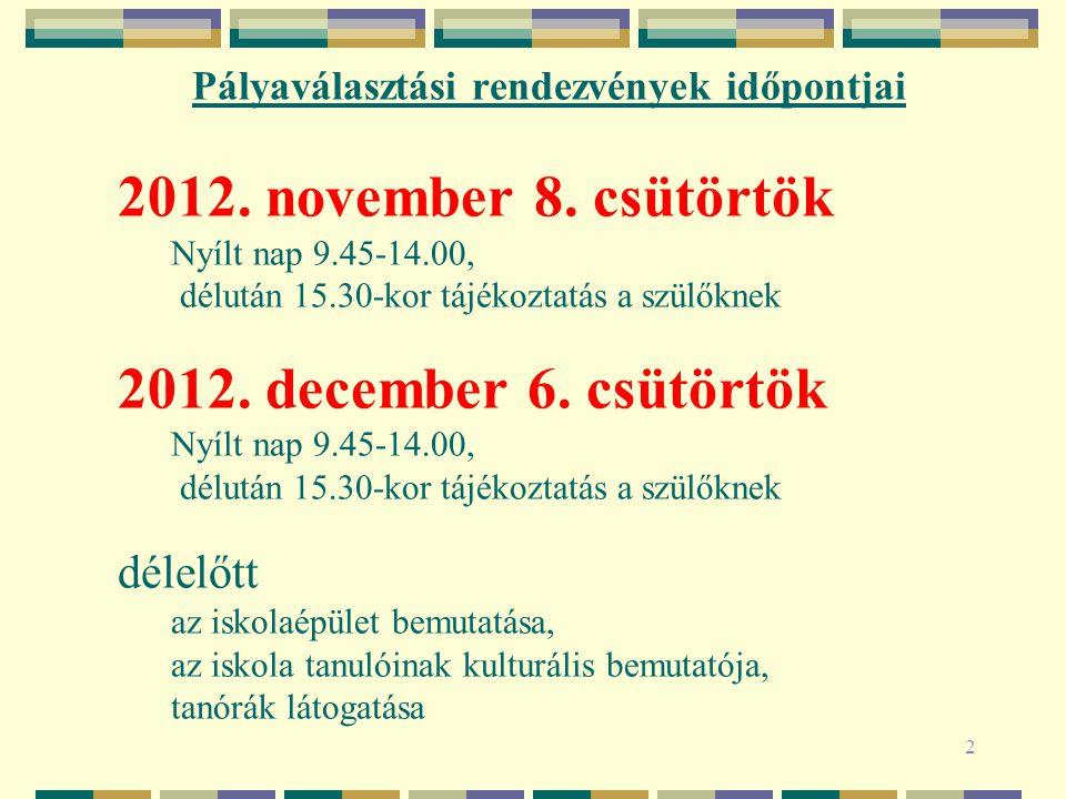 Pályaválasztási rendezvények időpontjai