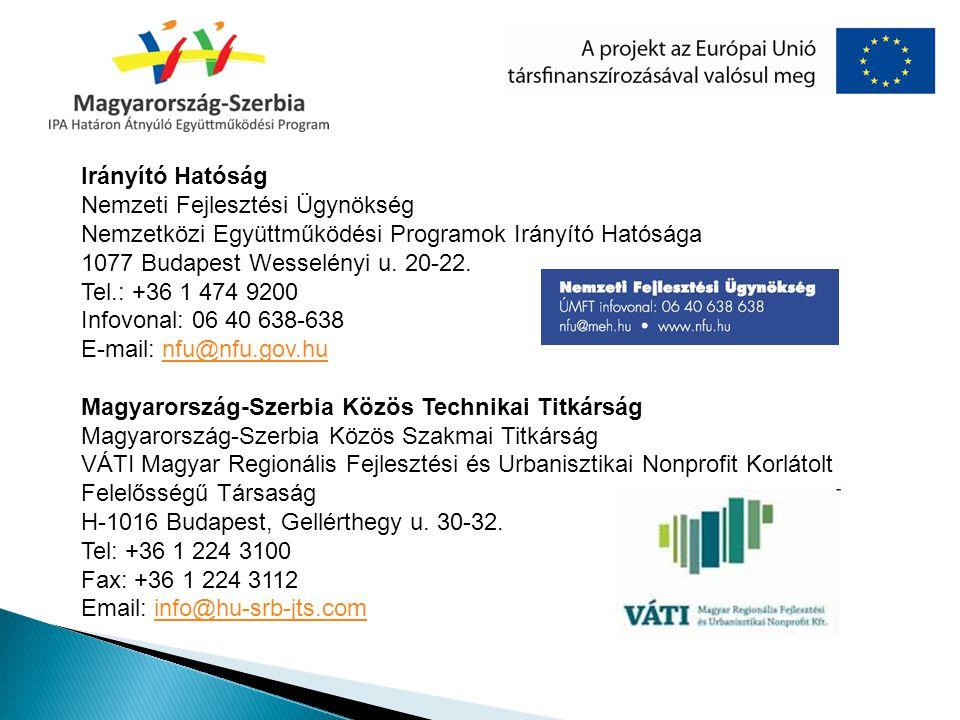 Irányító Hatóság Nemzeti Fejlesztési Ügynökség Nemzetközi Együttműködési Programok Irányító Hatósága 1077 Budapest Wesselényi u. 20-22.