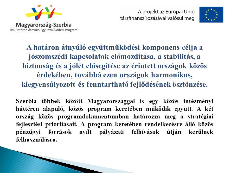 A határon átnyúló együttműködési komponens célja a jószomszédi kapcsolatok előmozdítása, a stabilitás, a biztonság és a jólét elősegítése az érintett országok közös érdekében, továbbá ezen országok harmonikus, kiegyensúlyozott és fenntartható fejlődésének ösztönzése.