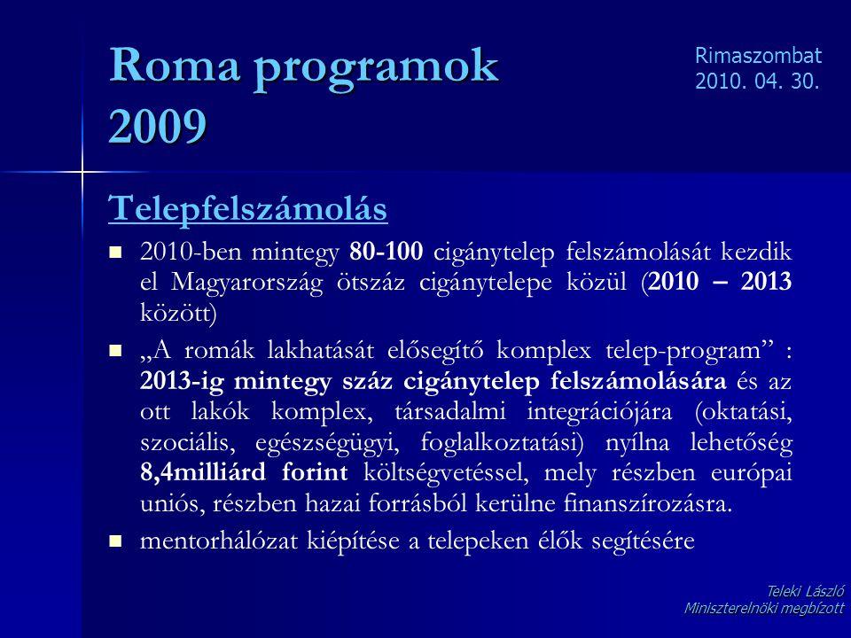 Roma programok 2009 Telepfelszámolás