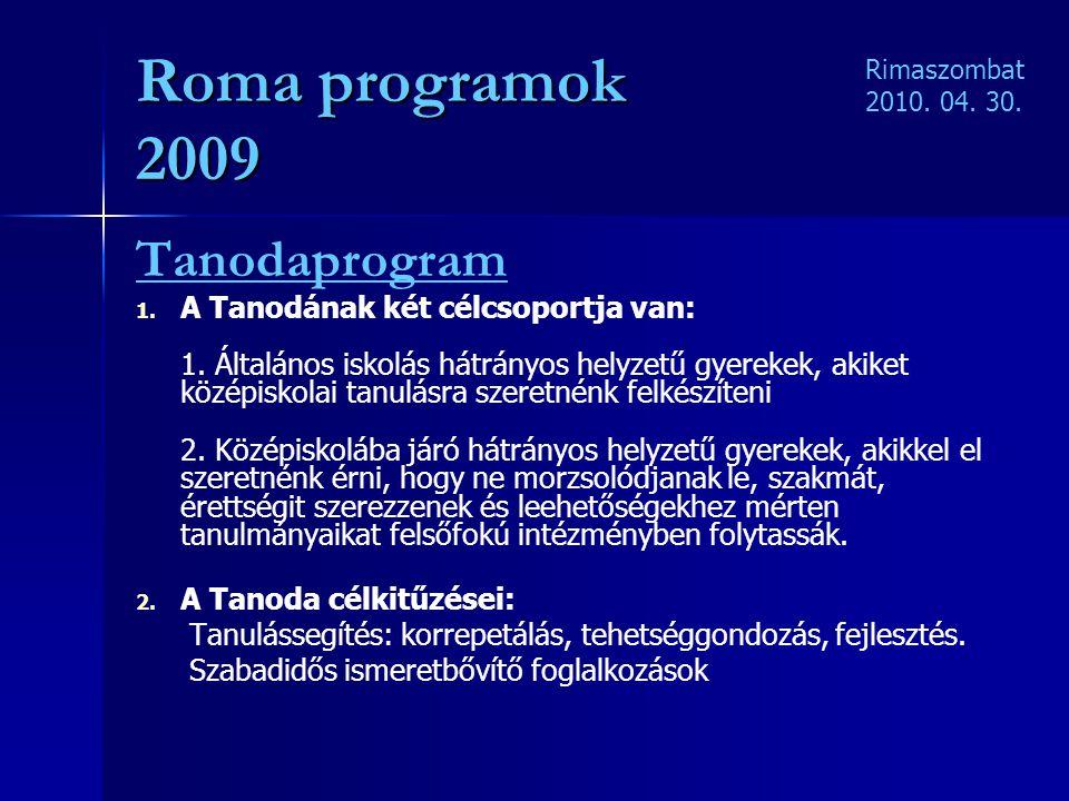 Roma programok 2009 Tanodaprogram