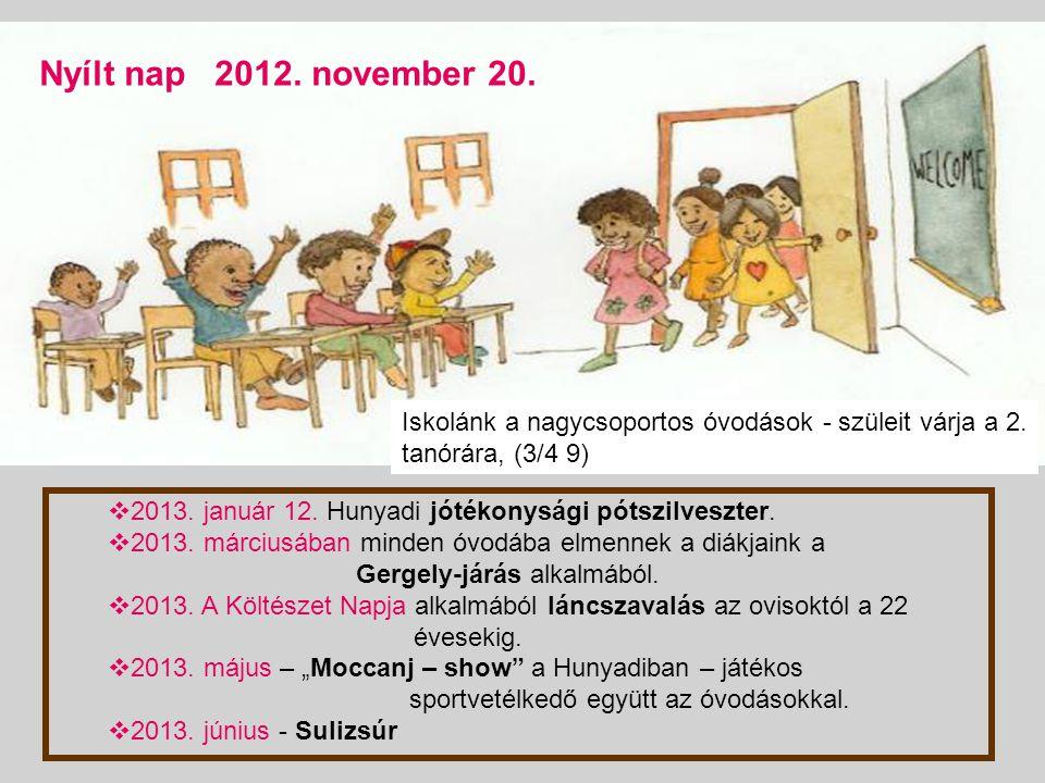 Nyílt nap 2012. november 20. Iskolánk a nagycsoportos óvodások - szüleit várja a 2. tanórára, (3/4 9)