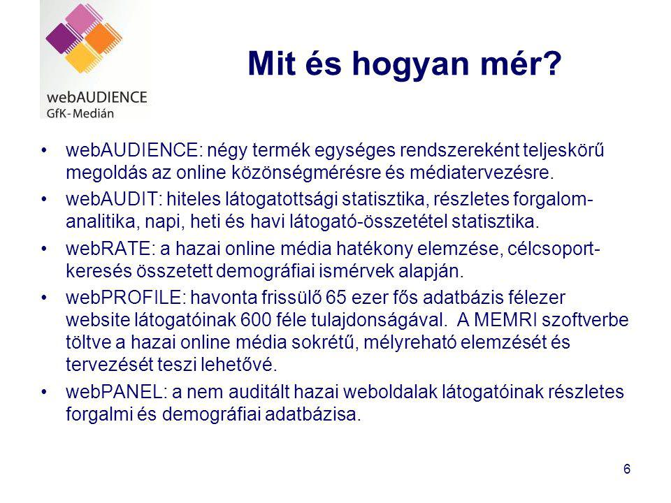 Mit és hogyan mér webAUDIENCE: négy termék egységes rendszereként teljeskörű megoldás az online közönségmérésre és médiatervezésre.