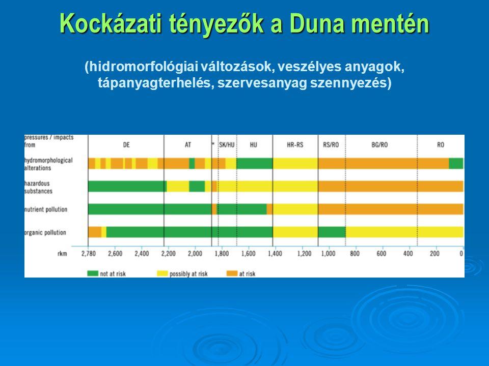 Kockázati tényezők a Duna mentén (hidromorfológiai változások, veszélyes anyagok, tápanyagterhelés, szervesanyag szennyezés)