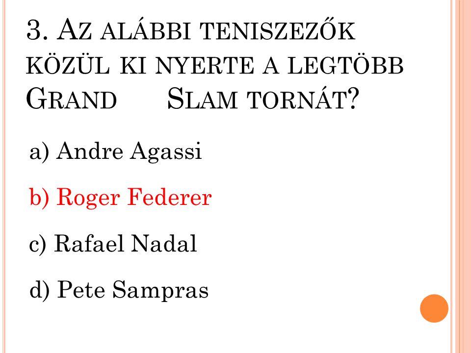 3. Az alábbi teniszezők közül ki nyerte a legtöbb Grand Slam tornát