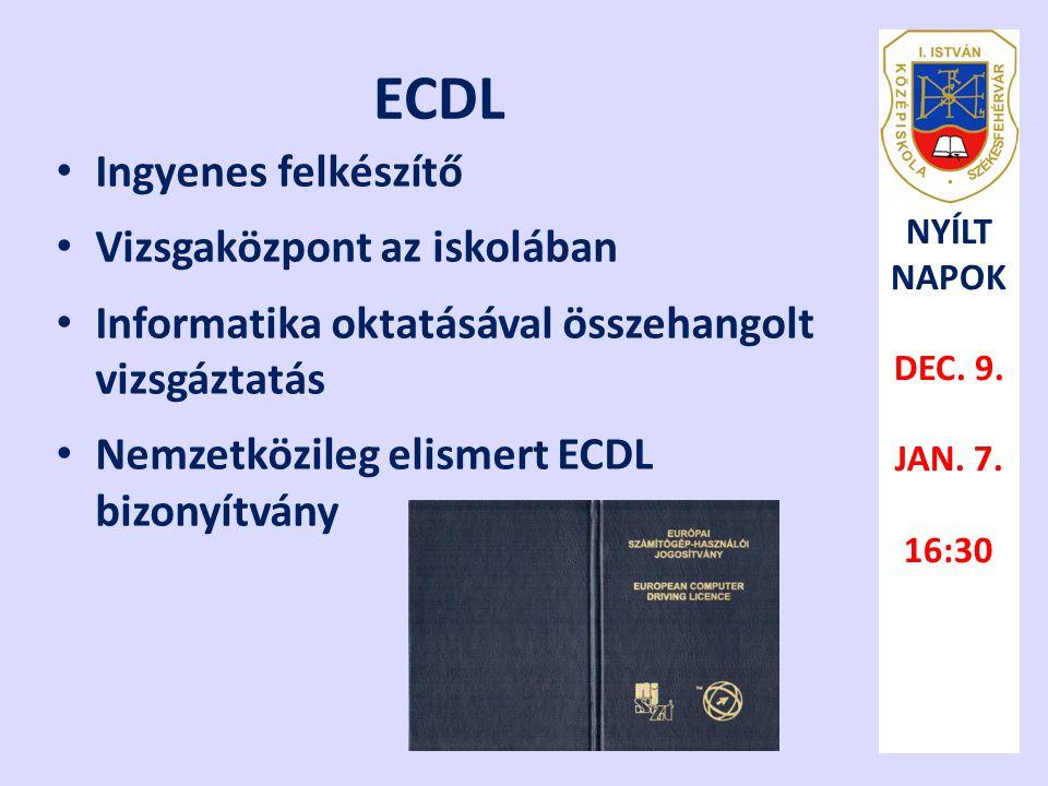 ECDL Ingyenes felkészítő Vizsgaközpont az iskolában
