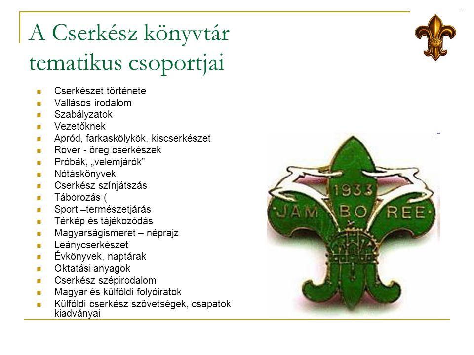 A Cserkész könyvtár tematikus csoportjai