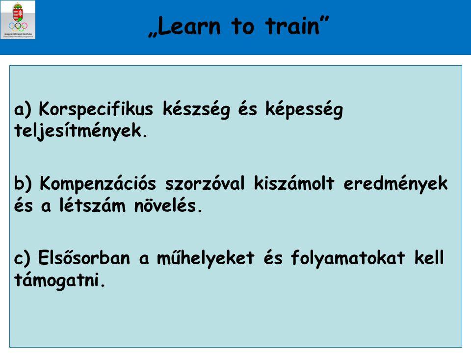 """""""Learn to train a) Korspecifikus készség és képesség teljesítmények."""