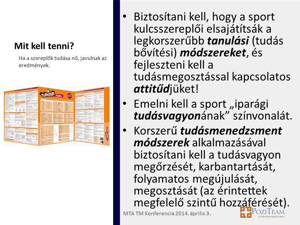 """Emelni kell a sport """"iparági tudásvagyonának színvonalát."""