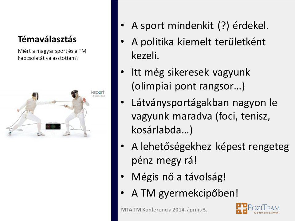 A sport mindenkit ( ) érdekel. A politika kiemelt területként kezeli.