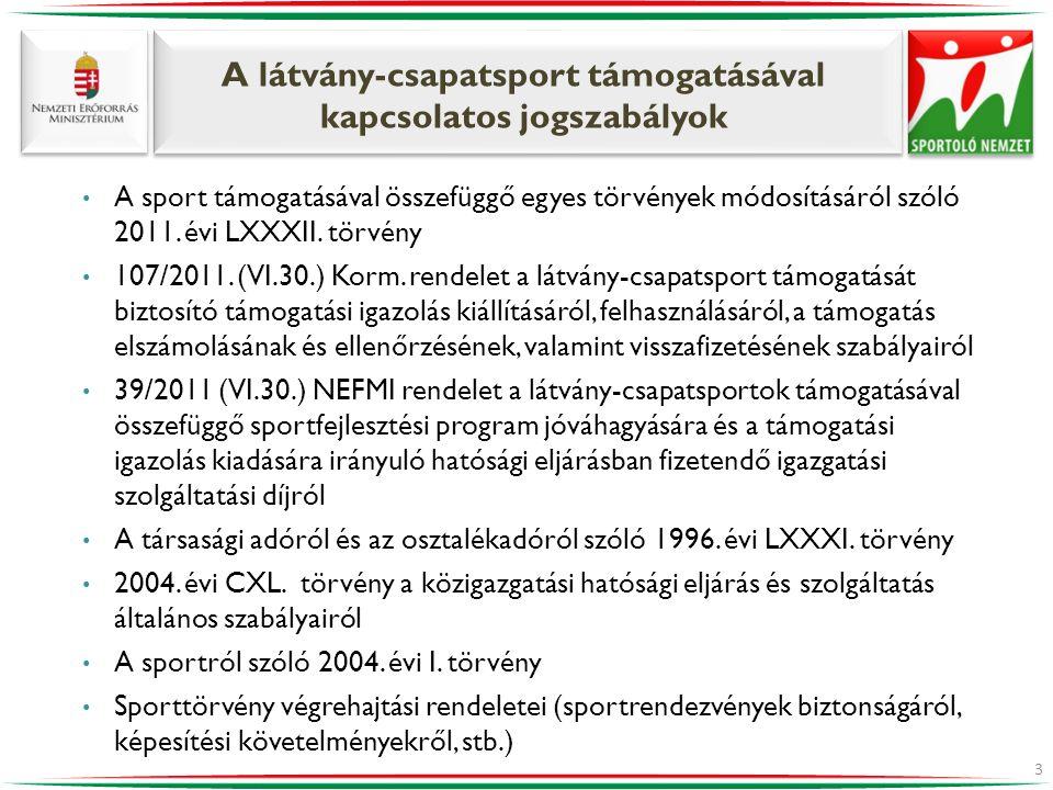 A látvány-csapatsport támogatásával kapcsolatos jogszabályok