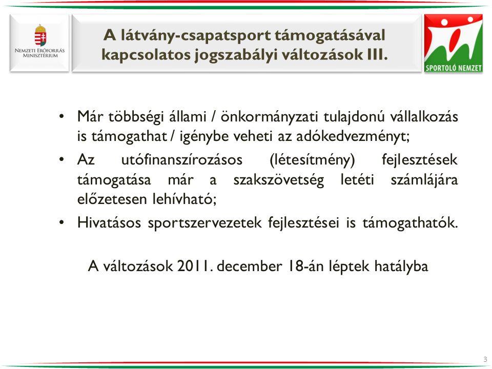 A változások 2011. december 18-án léptek hatályba