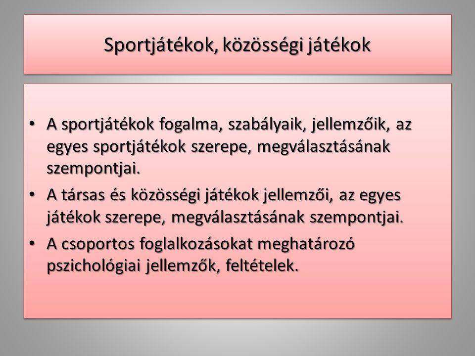 Sportjátékok, közösségi játékok