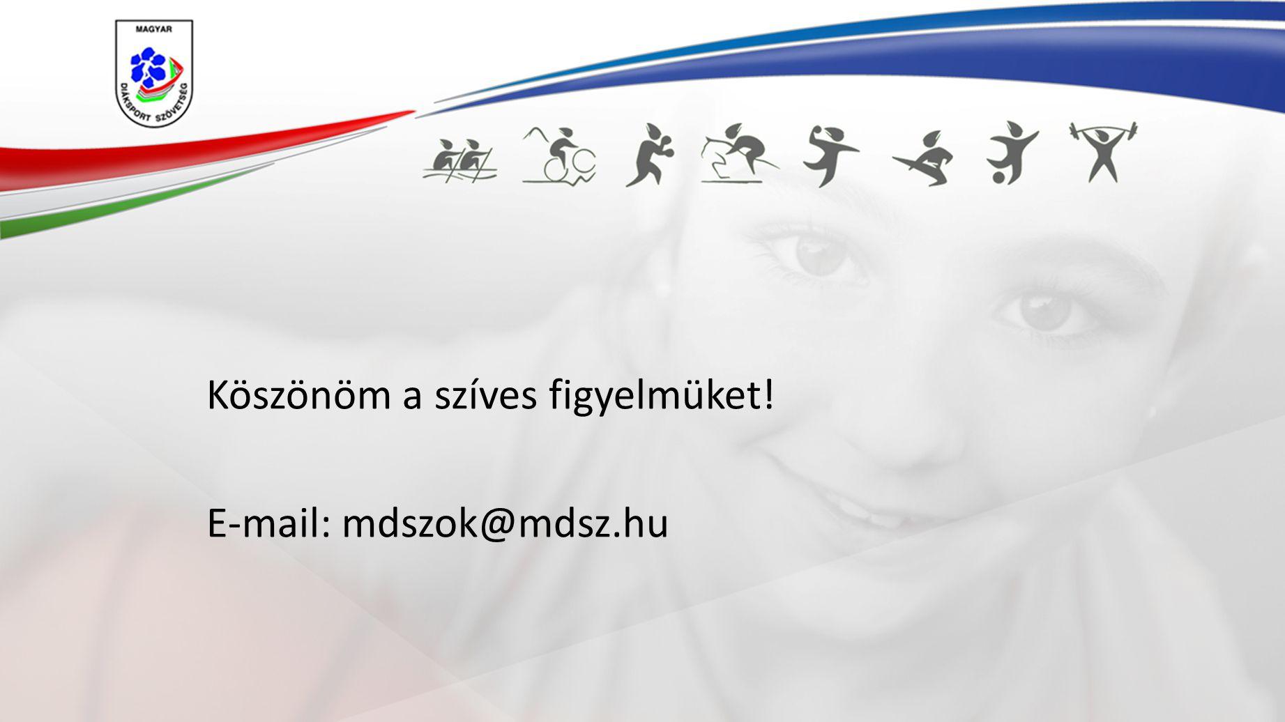 Köszönöm a szíves figyelmüket! E-mail: mdszok@mdsz.hu