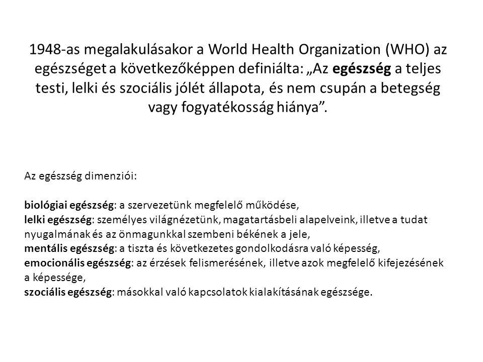 """1948-as megalakulásakor a World Health Organization (WHO) az egészséget a következőképpen definiálta: """"Az egészség a teljes testi, lelki és szociális jólét állapota, és nem csupán a betegség vagy fogyatékosság hiánya ."""