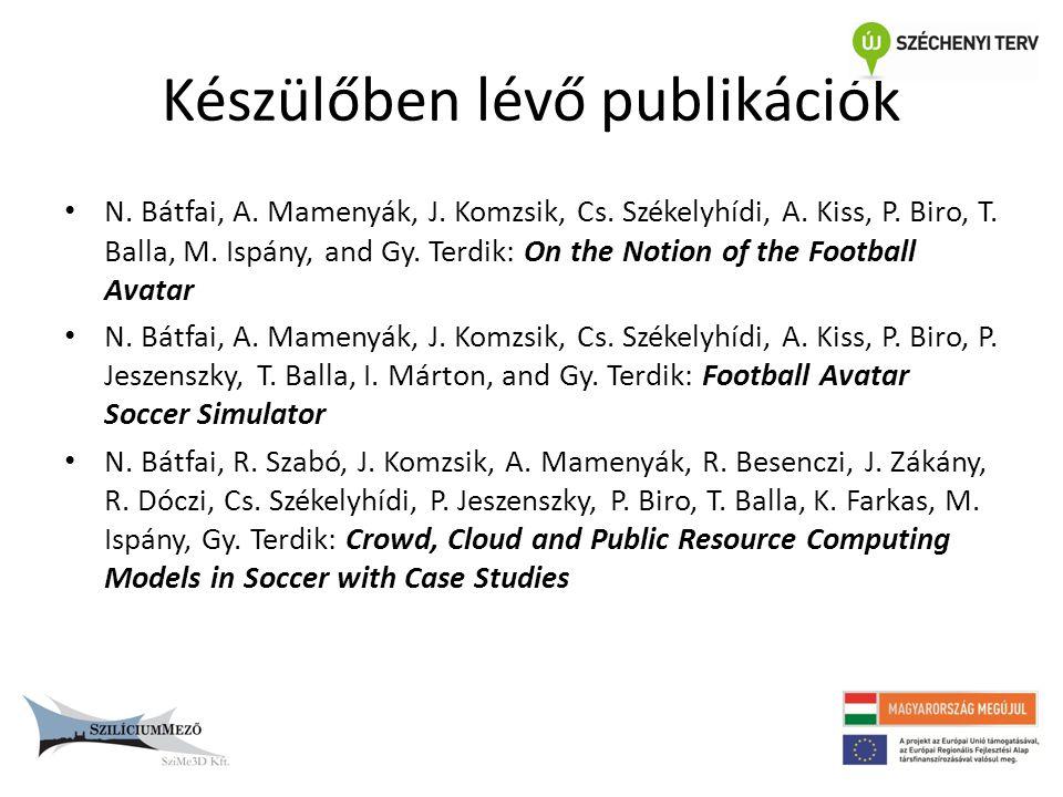 Készülőben lévő publikációk