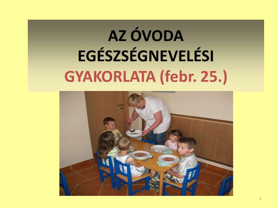 AZ ÓVODA EGÉSZSÉGNEVELÉSI GYAKORLATA (febr. 25.)