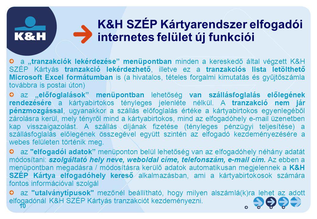 K&H SZÉP Kártyarendszer elfogadói internetes felület új funkciói
