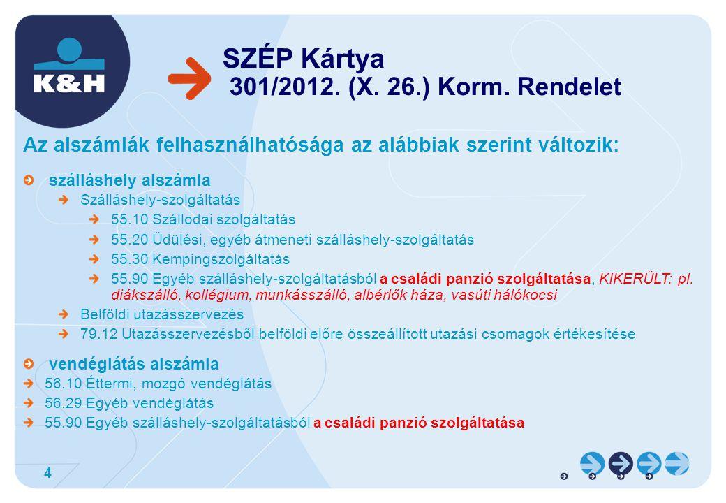SZÉP Kártya 301/2012. (X. 26.) Korm. Rendelet
