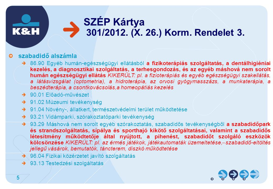 SZÉP Kártya 301/2012. (X. 26.) Korm. Rendelet 3.