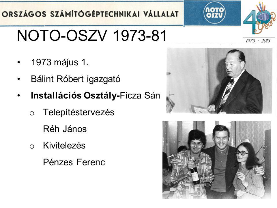NOTO-OSZV 1973-81 1973 május 1. Bálint Róbert igazgató