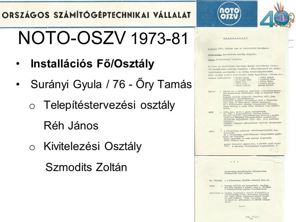 NOTO-OSZV 1973-81 Installációs Fő/Osztály