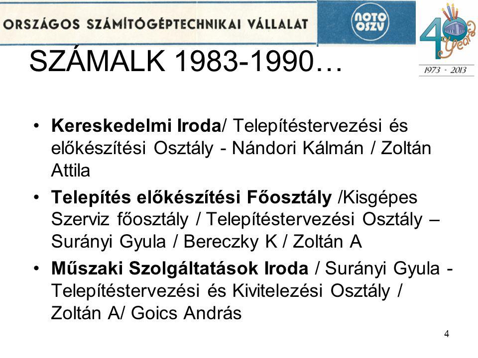 SZÁMALK 1983-1990… Kereskedelmi Iroda/ Telepítéstervezési és előkészítési Osztály - Nándori Kálmán / Zoltán Attila.