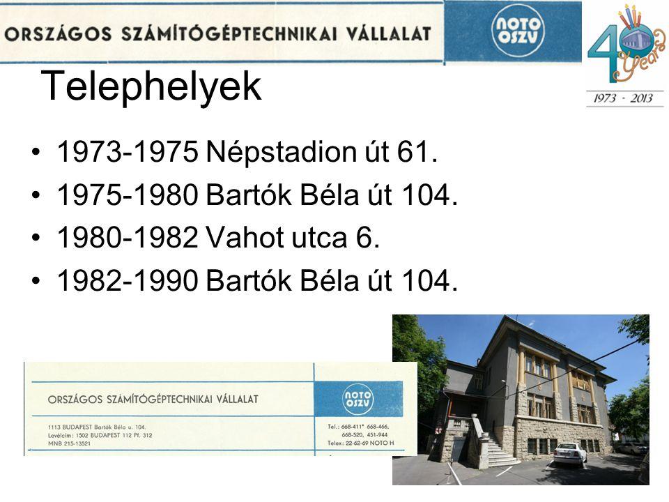 Telephelyek 1973-1975 Népstadion út 61. 1975-1980 Bartók Béla út 104.
