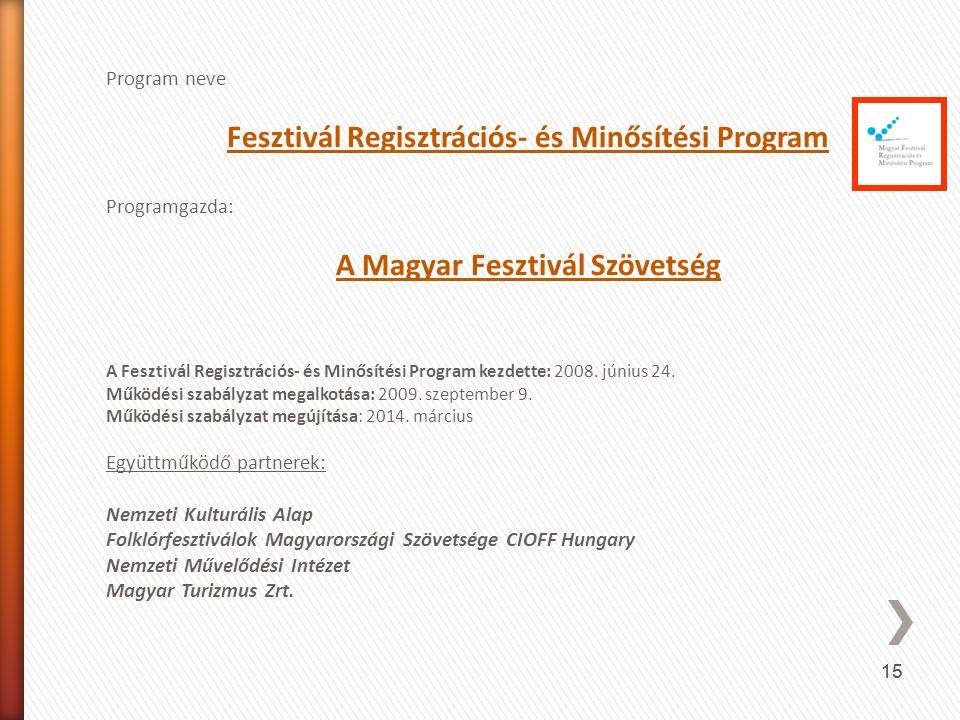 Fesztivál Regisztrációs- és Minősítési Program