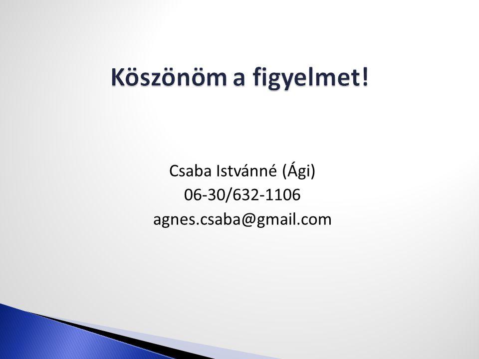 Csaba Istvánné (Ági) 06-30/632-1106 agnes.csaba@gmail.com