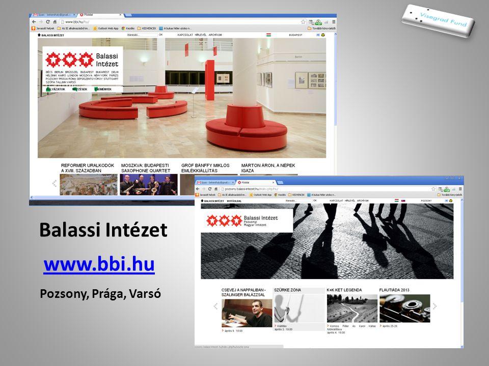 Balassi Intézet www.bbi.hu Pozsony, Prága, Varsó