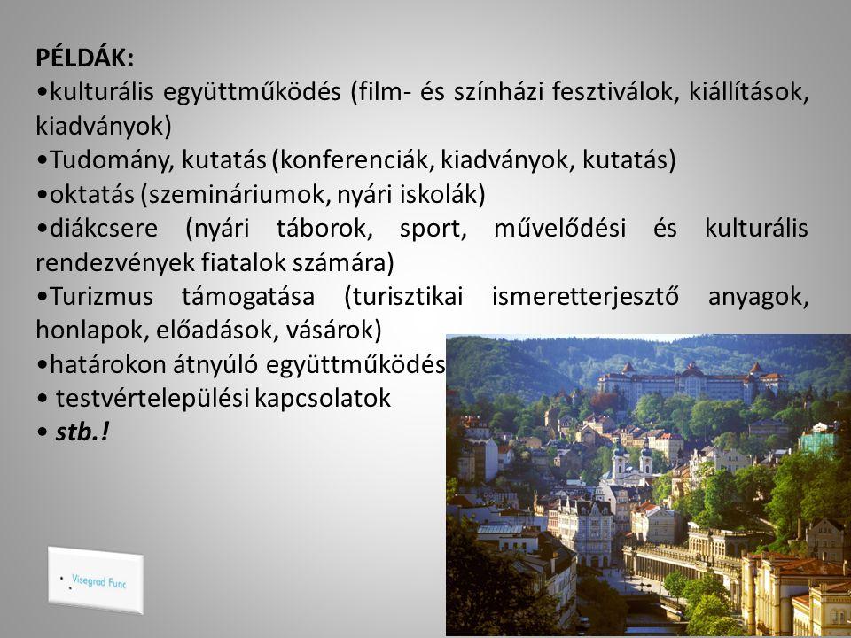 PÉLDÁK: kulturális együttműködés (film- és színházi fesztiválok, kiállítások, kiadványok) Tudomány, kutatás (konferenciák, kiadványok, kutatás)