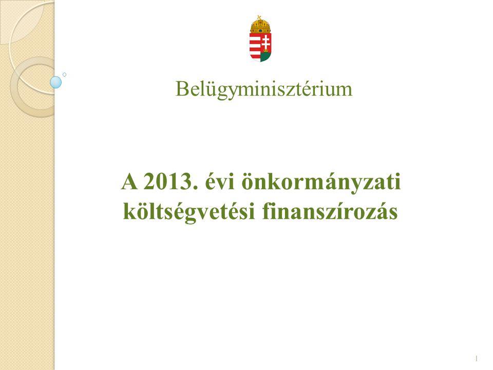A 2013. évi önkormányzati költségvetési finanszírozás