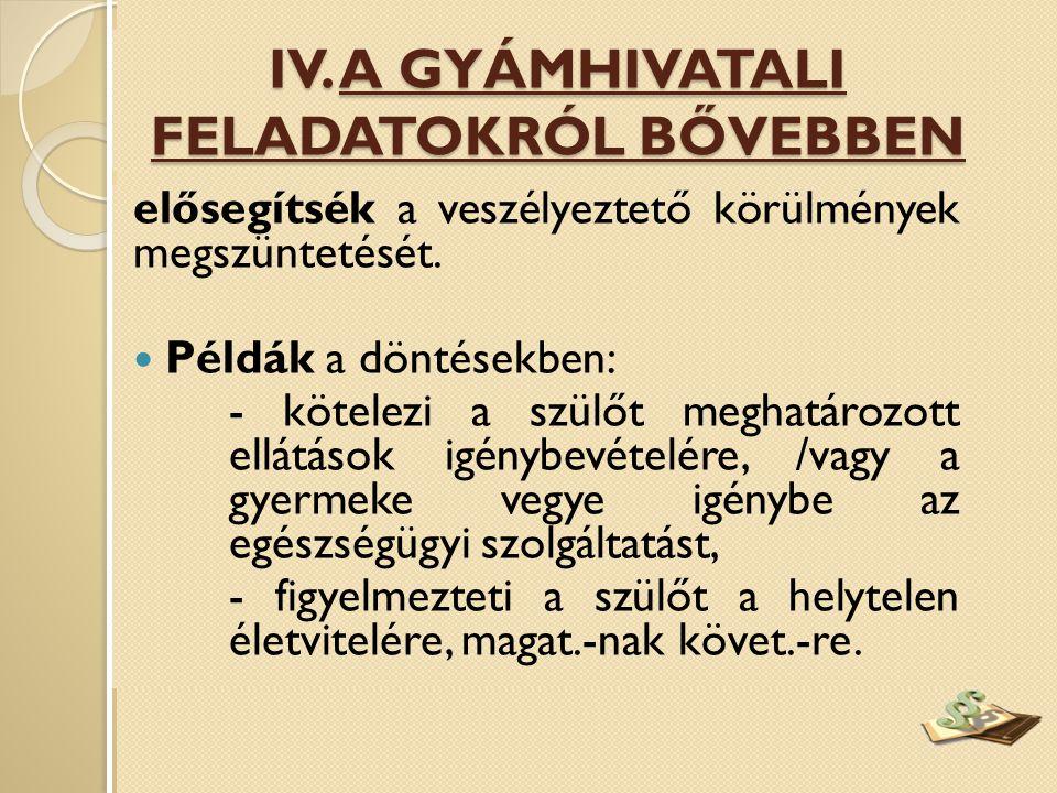 IV. A GYÁMHIVATALI FELADATOKRÓL BŐVEBBEN