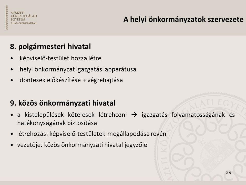 A helyi önkormányzatok szervezete