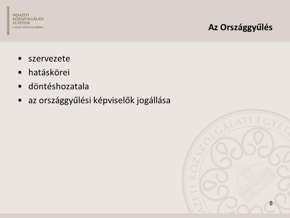 Az Országgyűlés szervezete hatáskörei döntéshozatala az országgyűlési képviselők jogállása