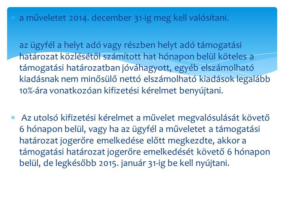 a műveletet 2014. december 31-ig meg kell valósítani.