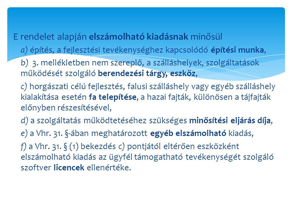 E rendelet alapján elszámolható kiadásnak minősül