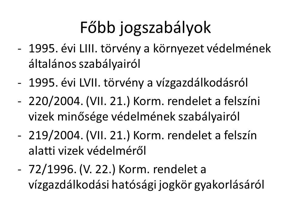 Főbb jogszabályok 1995. évi LIII. törvény a környezet védelmének általános szabályairól. 1995. évi LVII. törvény a vízgazdálkodásról.
