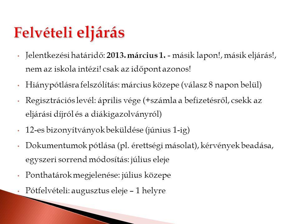 Felvételi eljárás Jelentkezési határidő: 2013. március 1. - másik lapon!, másik eljárás!, nem az iskola intézi! csak az időpont azonos!