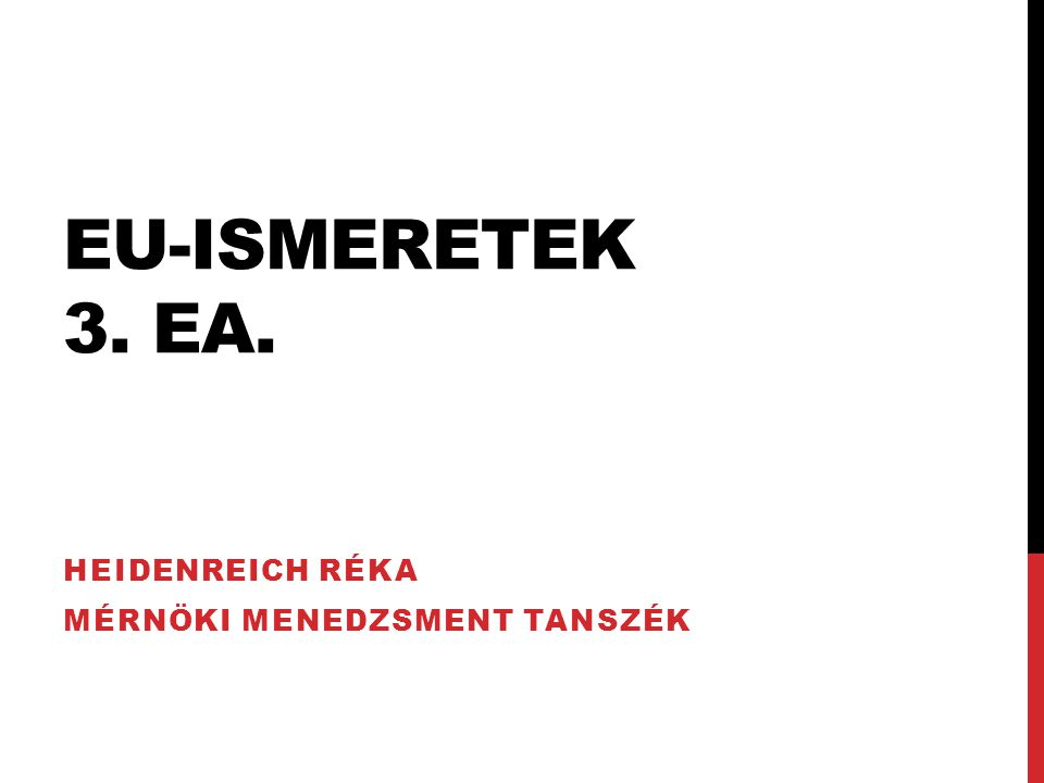 Heidenreich Réka Mérnöki Menedzsment Tanszék